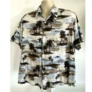 Tasso Elba Hawaiian Button Front Shirt XL Pocket